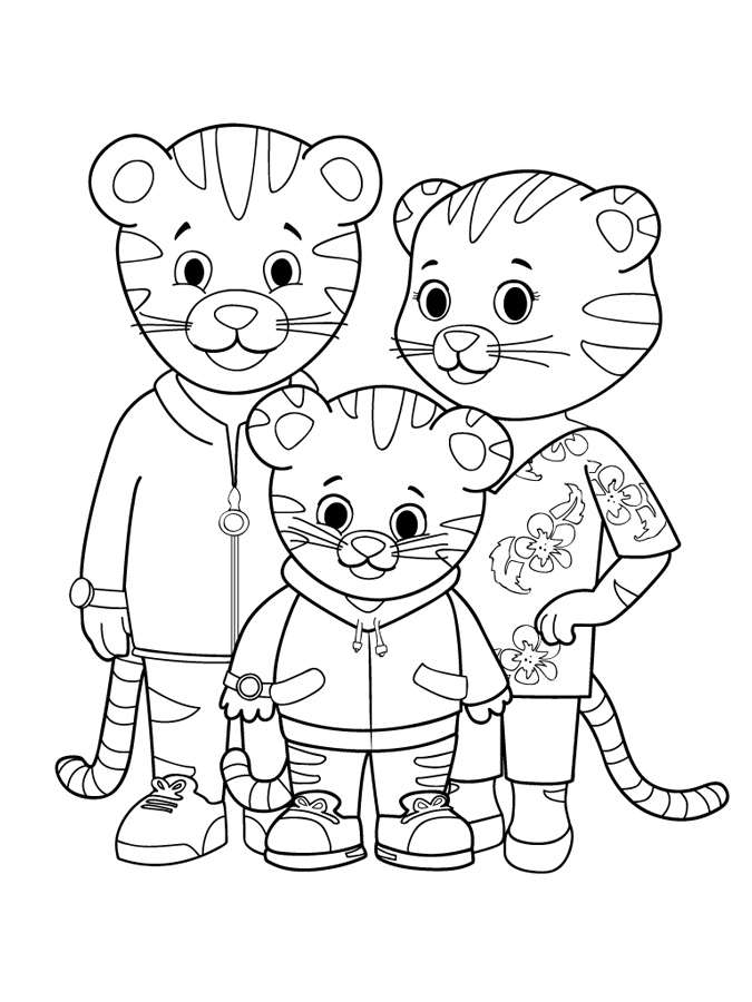 Printable coloring page - Daniel's family