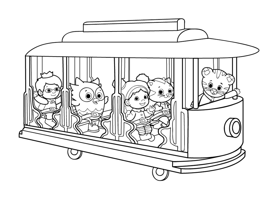 Printable coloring page - Kids with trolley