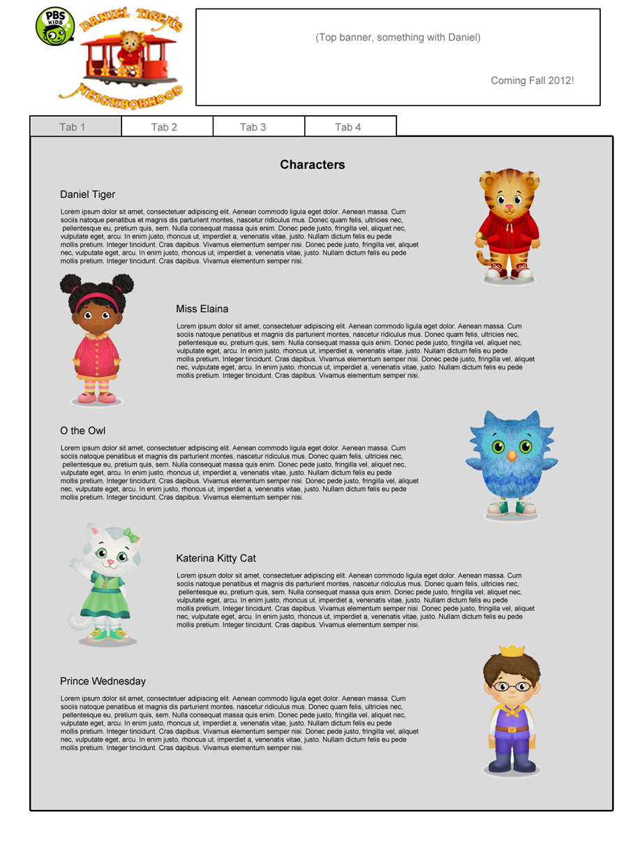 Teaser site - characters layout