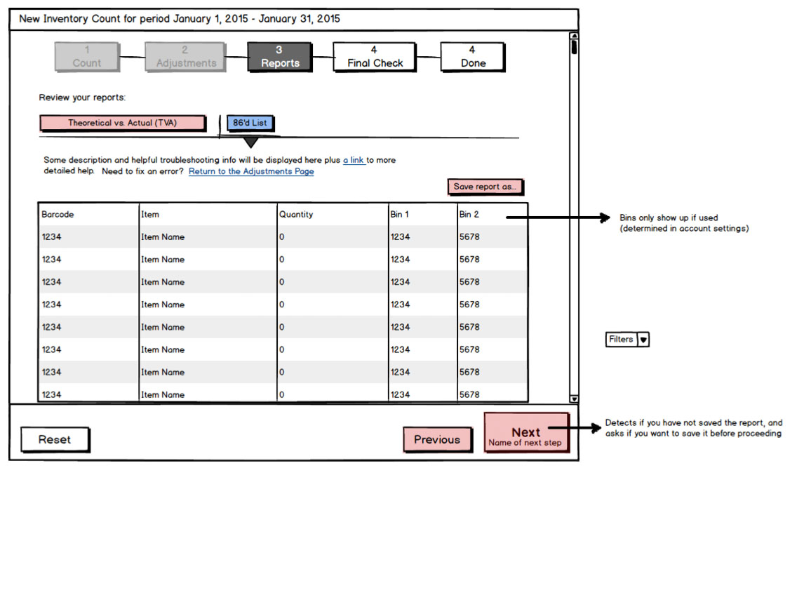 Wireframe - reports