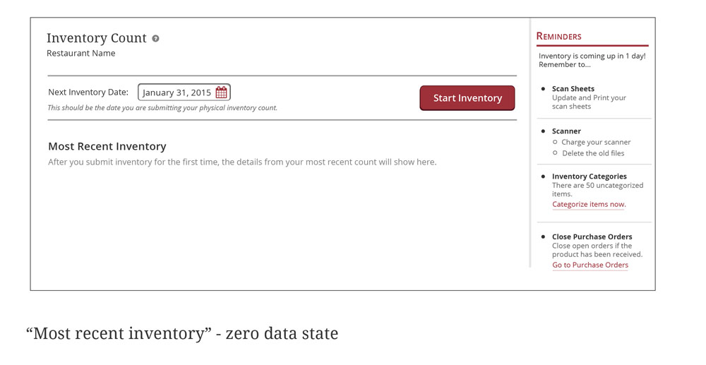 Front page - zero data state