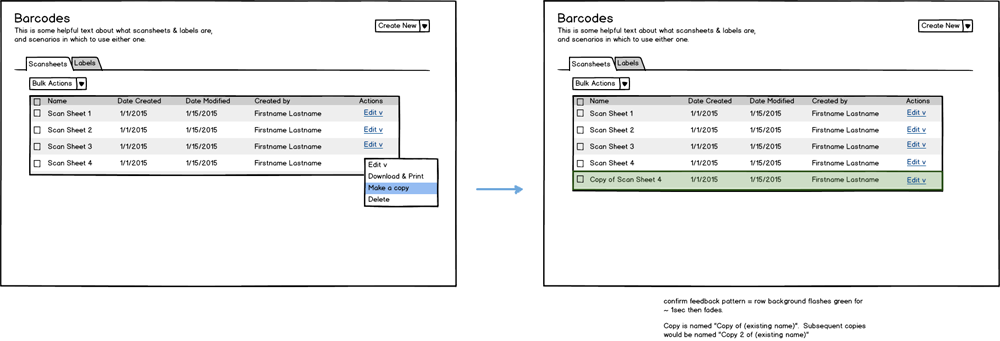 "wireframe for what will be called the ""Manage Scansheets"" page"