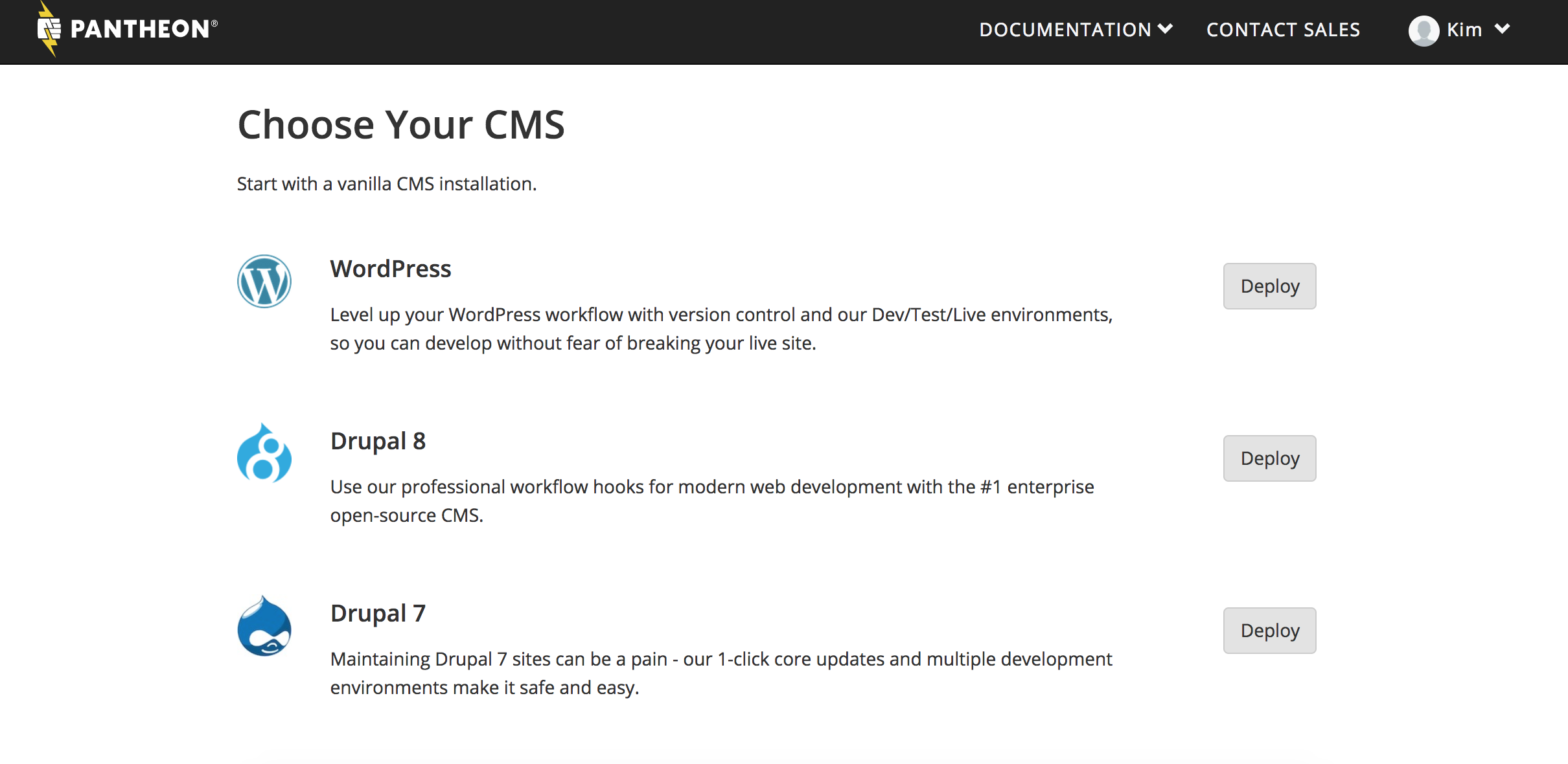 create site – choose cms – new text